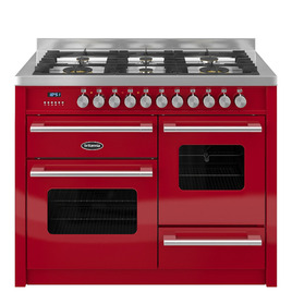 Britannia Delphi 110 RC11XGGDERED Dual Fuel Range Cooker - Gloss Red & Stainless Steel