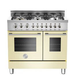 Rangemaster Professional 90 Dual Fuel Range Cooker - Cream & Stainless Steel