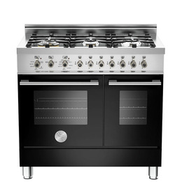 Rangemaster Professional 90 DF Twin Dual Fuel Range Cooker - Black & Stainless Steel