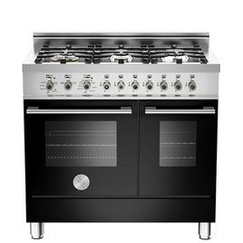 Rangemaster Professional 90 DF Twin Dual Fuel Range Cooker - Black & Stainless Steel