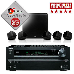 Photo of Boston Acoustics SoundWare XS 5.1 Speakers and Onkyo TX-SR608 AV Receiver Bundle With Free Cable Pack Home Cinema System