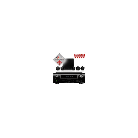 Boston Acoustics SoundWare XS 5.1 Speakers And Denon AVR-1911 AV Receiver Bundle With Free Cable Pack
