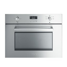 Smeg Cucina SC445MX Built-in Compact Microwave with Grill - Stainless Steel