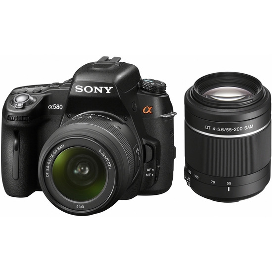 Sony Alpha DSLR-A580Y with 18-55mm and 55-200mm lenses