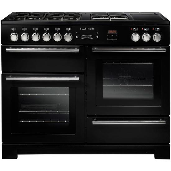 Rangemaster Platinum 110 Dual Fuel Range Cooker - Black & Chrome