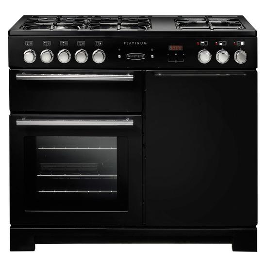 Rangemaster Platinum 100 Dual Fuel Range Cooker - Black & Chrome