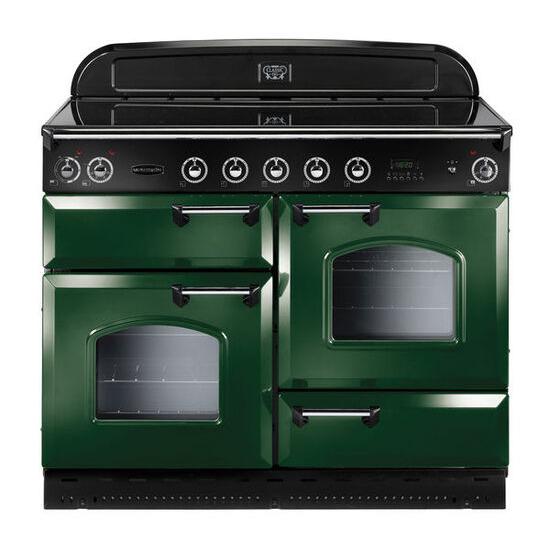 Rangemaster Classic 110 Electric Ceramic Range Cooker - Green & Chrome