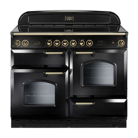 Rangemaster Classic 110 Electric Ceramic Range Cooker - Black & Brass