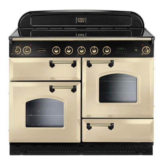 Rangemaster Classic 110 Electric Induction Range Cooker - Cream & Brass