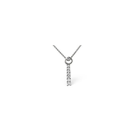 The Diamond Store Drop Necklace 0 22CT Diamond 9K White Gold