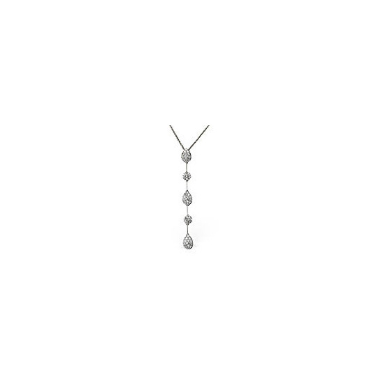 The Diamond Store Drop Necklace 0 76CT Diamond 9K White Gold
