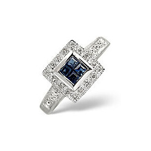 Photo of Sapphire & 0.11CT Diamond Ring 9K White Gold Jewellery Woman