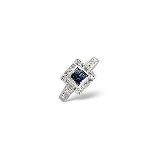 Sapphire & 0.11CT Diamond Ring 9K White Gold