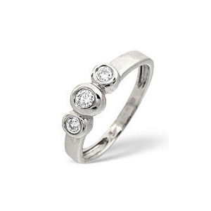 Photo of Trilogy Ring 0.16CT Diamond 9K White Gold Jewellery Woman