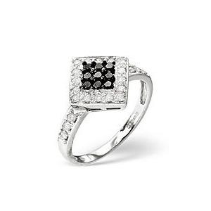 Photo of Black Diamond & 0.25CT Diamond Ring 9K White Gold Jewellery Woman