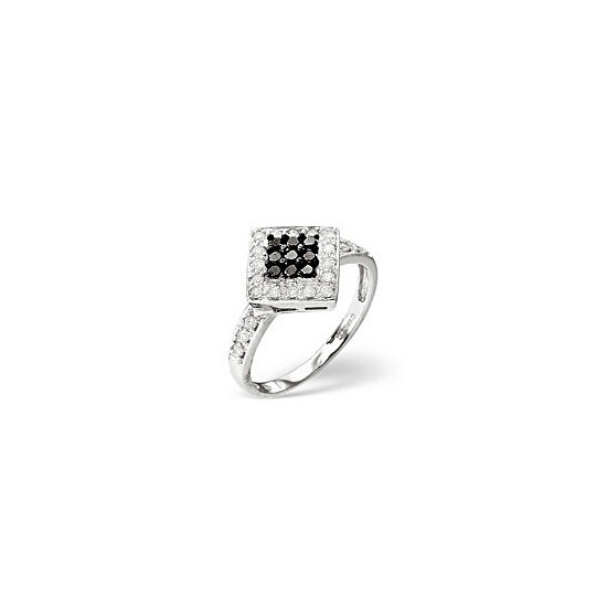 Black Diamond & 0.25CT Diamond Ring 9K White Gold