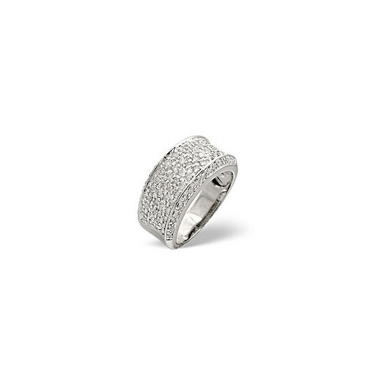Wide Ring 0.94CT Diamond 9K White Gold