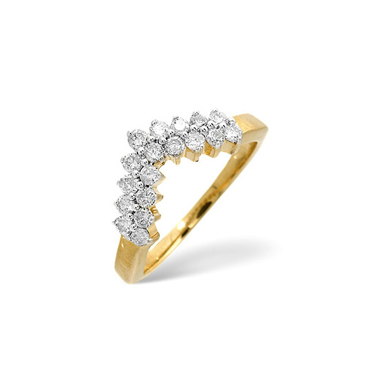Wishbone Ring 0.45CT Diamond 9K Yellow Gold