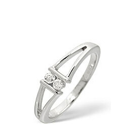 2 Stones Ring 0.08CT Diamond 9K White Gold Reviews