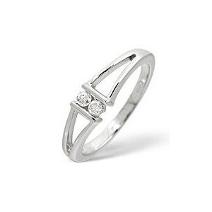 Photo of 2 Stones Ring 0.08CT Diamond 9K White Gold Jewellery Woman