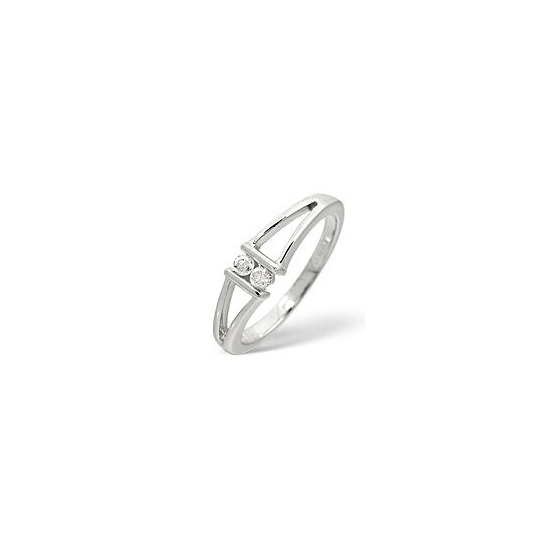 2 Stones Ring 0.08CT Diamond 9K White Gold