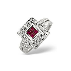Photo of Ruby & 0.11CT Diamond Ring 9K White Gold Jewellery Woman