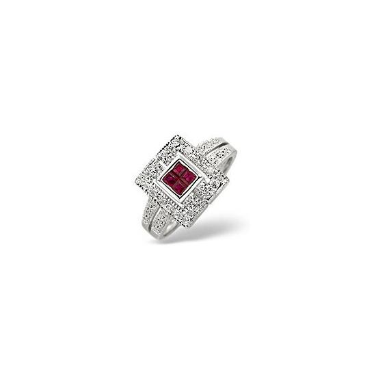 Ruby & 0.11CT Diamond Ring 9K White Gold