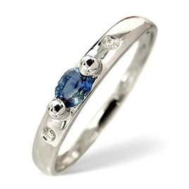 Sapphire & 0.02CT Diamond Ring 9K White Gold Reviews
