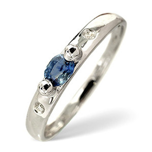 Photo of Sapphire & 0.02CT Diamond Ring 9K White Gold Jewellery Woman