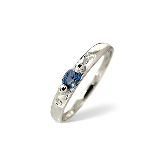 Sapphire & 0.02CT Diamond Ring 9K White Gold
