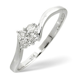Cluster Ring 0.12CT Diamond 9K White Gold Reviews