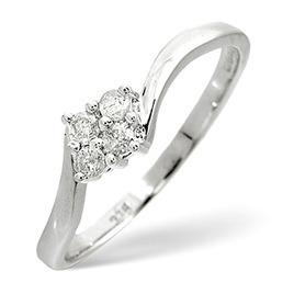 Cluster Ring 0.12CT Diamond 9K White Gold Reviews