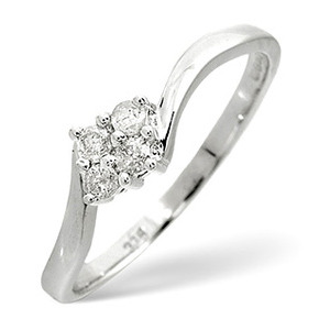 Photo of Cluster Ring 0.12CT Diamond 9K White Gold Jewellery Woman