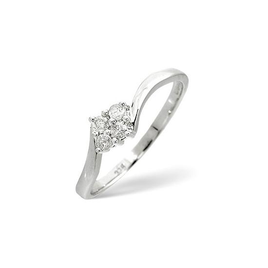 Cluster Ring 0.12CT Diamond 9K White Gold