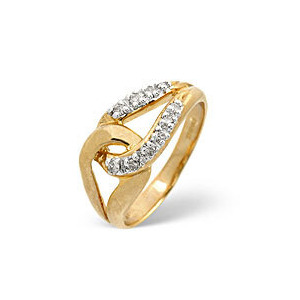 Photo of The Diamond Store Horseshoe Ring 0 13CT Diamond 9K Yellow Gold Jewellery Woman