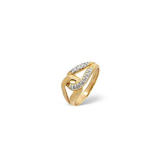 The Diamond Store Horseshoe Ring 0 13CT Diamond 9K Yellow Gold