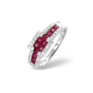 Photo of The Diamond Store Ruby 0 26CT Diamond Ring 9K White Gold Jewellery Woman