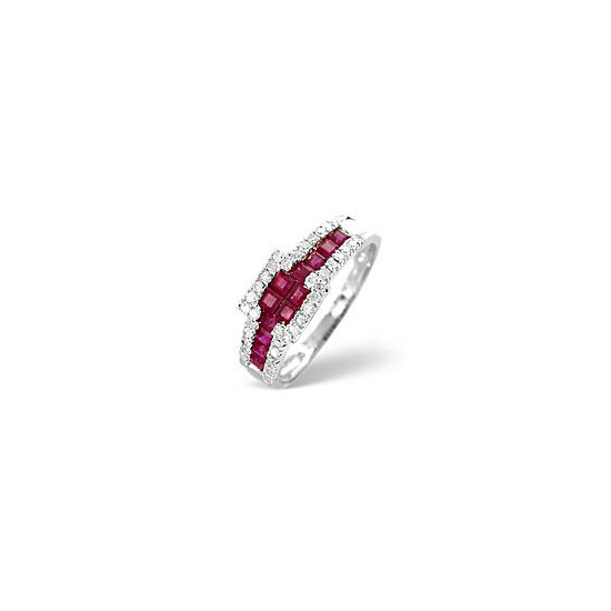 The Diamond Store Ruby 0 26CT Diamond Ring 9K White Gold