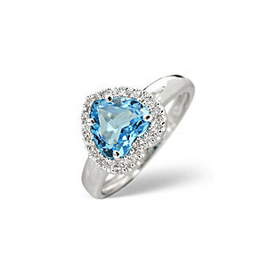 Photo of Blue Topaz & 0.10CT Diamond Ring 9K White Gold Jewellery Woman