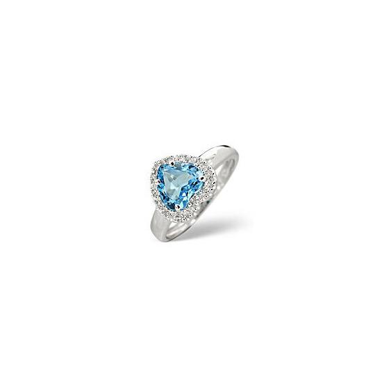 Blue Topaz & 0.10CT Diamond Ring 9K White Gold