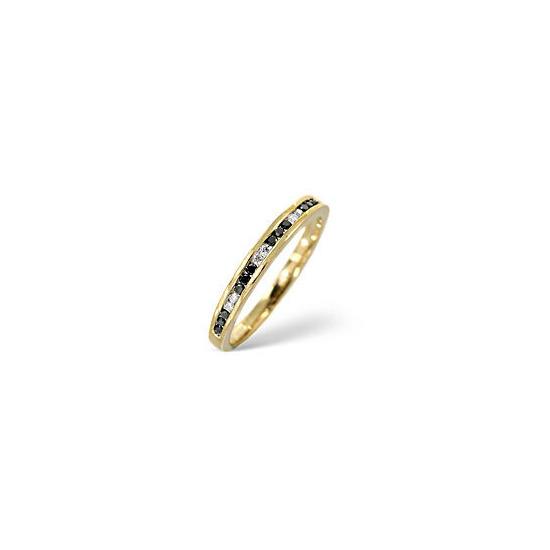 Black Diamond & 0.05CT Diamond Ring 9K Yellow Gold