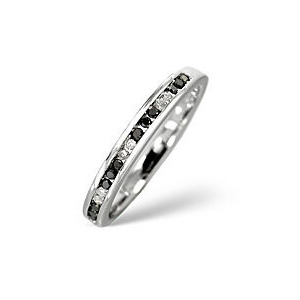 Photo of Black Diamond & 0.05CT Diamond Ring 9K White Gold Jewellery Woman