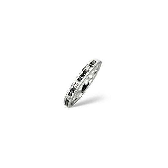 Black Diamond & 0.05CT Diamond Ring 9K White Gold