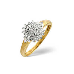 Photo of Cluster Ring 0.20CT Diamond 9K Yellow Gold Jewellery Woman
