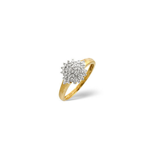 Cluster Ring 0.20CT Diamond 9K Yellow Gold