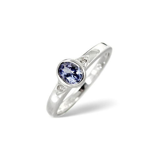 Tanzanite & 0.02CT Diamond Ring 9K White Gold