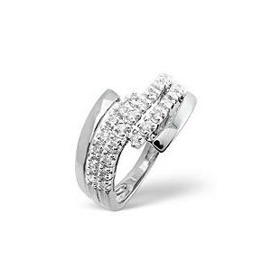 Photo of The Diamond Store Cross Over Ring 0 26CT Diamond 9K White Gold Jewellery Woman