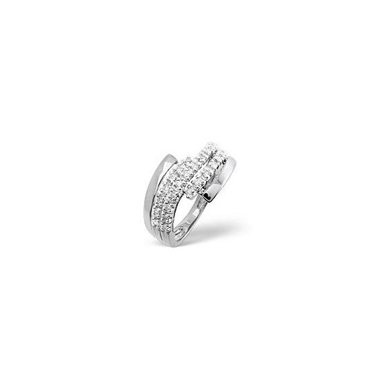 The Diamond Store Cross Over Ring 0 26CT Diamond 9K White Gold