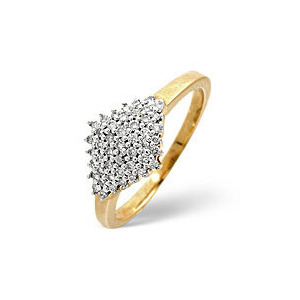 Photo of Cluster Ring 0.23CT Diamond 9K Yellow Gold Jewellery Woman