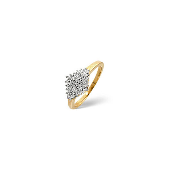 Cluster Ring 0.23CT Diamond 9K Yellow Gold